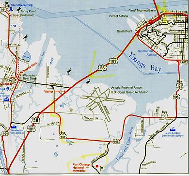 Astoria - Fort clatsop on map of us